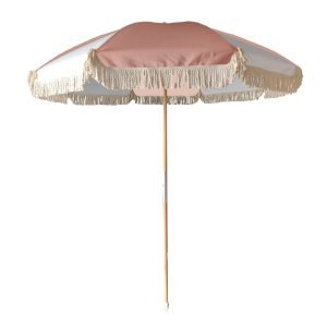 small beach umbrella with cotton fringes