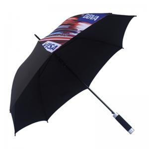 Classic Black Company Logo Printed Straight Umbrella