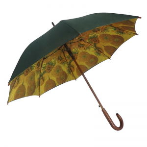 Double Canopy Oversize Wooden Handle J Stick Umbrella