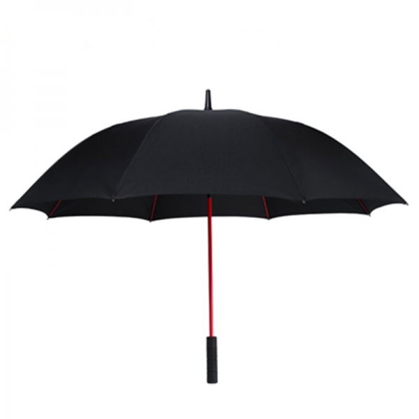 Custom Straight Golf Umbrella Black Pongee Red Frame