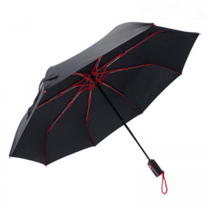 Red Fiberglass Frame Automatic Folding Umbrella