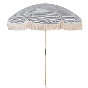wooden beach umbrella with fringes