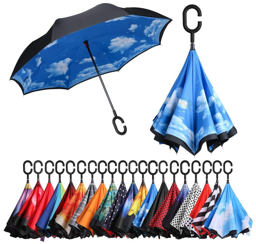 DOUBLE LAYER INVERTED UMBRELLA HANDS FREE