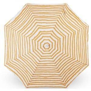 wholesale luxury beach umbrella with tassels, golden stripe pattern
