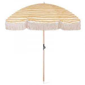 luxury beach umbrella with fringes, wood beach umbrella