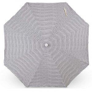 wooden pole beach umbrella striped design