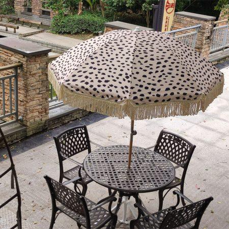 retro vintage beach umbrella wood pole