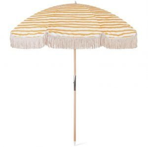 Luxury Tassel Beach Umbrella with Wooden Pole For Shade