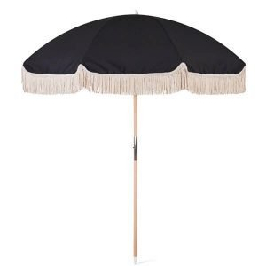 luxury black beach umbrella with tassels