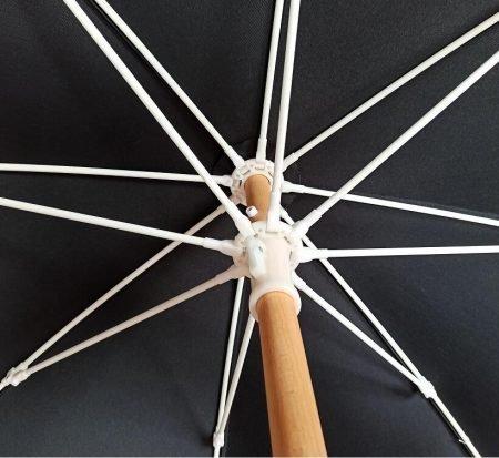 black fringed beach umbrella