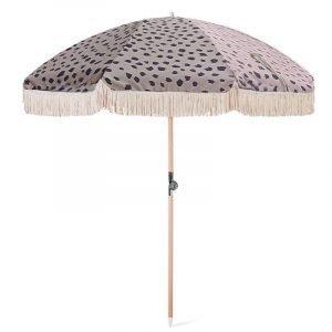 wood pole beach umbrella with fringes tassels