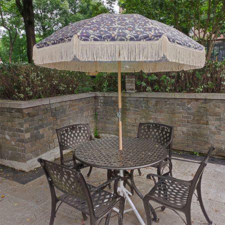 boho fringed beach umbrella with tassels