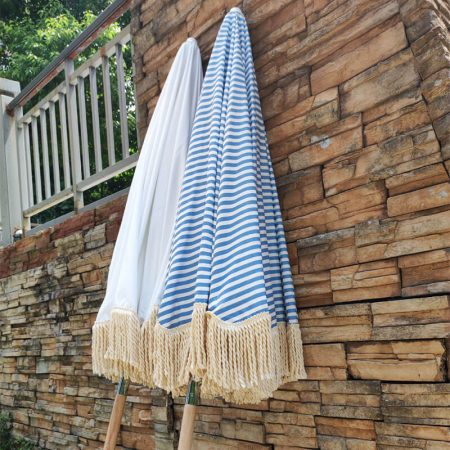 retro beach umbrella with fringe tassels
