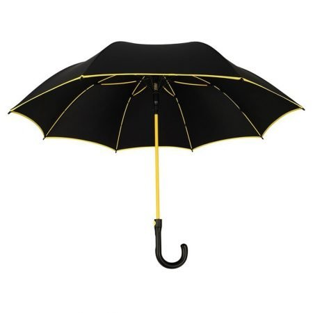 premium black golf umbrella yellow piping yellow frame (1)