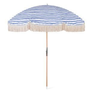 striped beach umbrella with fringes