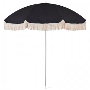 wooden pole beach umbrella with cotton tassels
