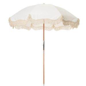 fringed beach umbrella off white