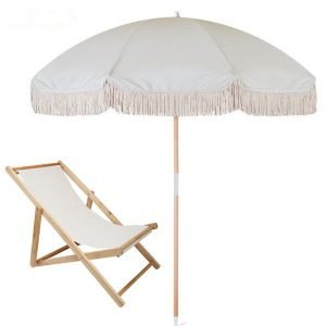 luxury beach umbrella with wood beach chair