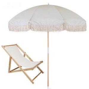 luxury beach umbrella with wood beach chair
