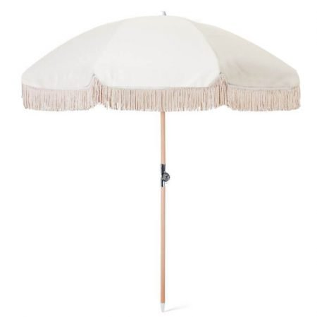 classical beach umbrella with tassels