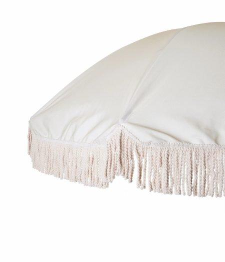 white fringed beach umbrella with wood beach chair (3)