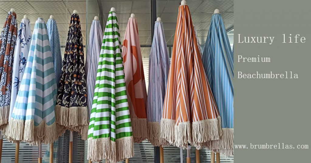 premium fringed beach umbrellas