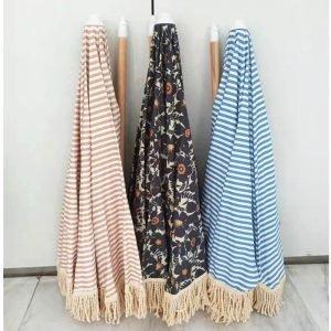 premium beach parasol with fringes