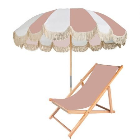 durable patio parasol with wood pole fringes