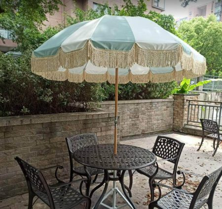 fringed retro patio umbrella wood supplier