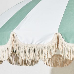 fringed retro patio umbrella wood 1