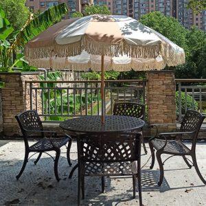 vintage patio umbrella with fringes