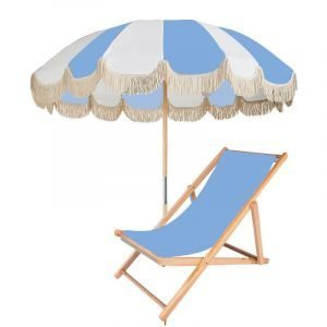 large Retro outdoor garden umbrella with fringes