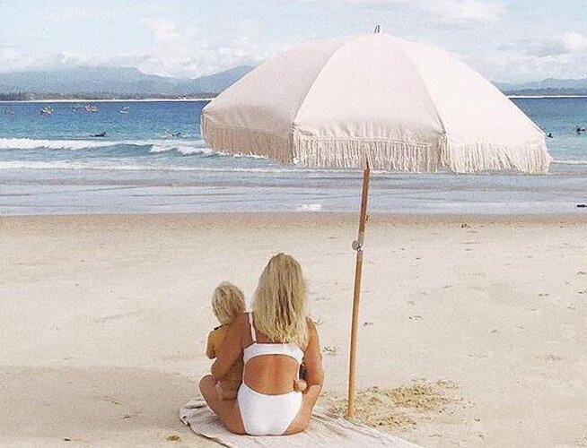 vintage beach umbrella with fringe tassels