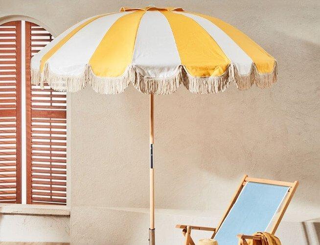 wooden pole garden umbrella
